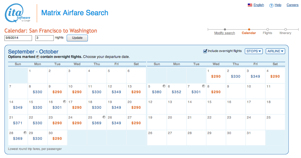 ITA Fare Matrix Example Search